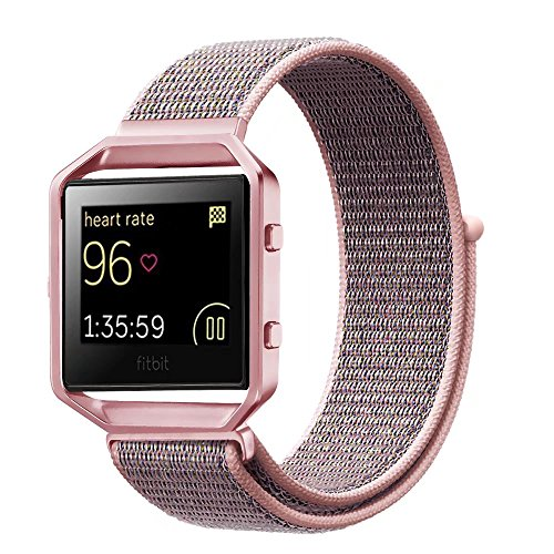 For Fitbit Blaze Band,Yichan Nylon Sport Loop with Hook and Loop Adjustable Fastener Wrist Strap & Metal Frame Housing for Fitbit Blaze Smart Fitness Watch,Pink - Vogue Customer Service