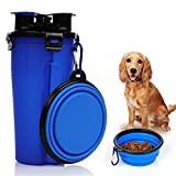 KASOS 2 in 1 Travel Outdoor Portable Pet Water and Snack Bottle Cup Dog Water Dispenser with Bowl, Dual Chambered Pet Dog Food and Water Storage Container for 350ml/12oz Water and 250g Snack For Sale