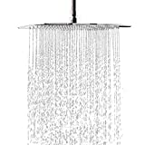 MeSun Rain Shower Head, 12 Inch Large Square High Pressure waterfall Stainless Steel Showerhead, Ultra Thin Rainfall High Flow Adjustable Fixed Shower Head with Polish Chrome Finish