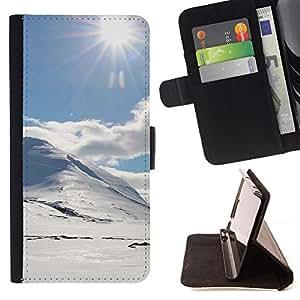 For HTC One M9 - holmy sneg doroga solnce /Funda de piel cubierta de la carpeta Foilo con cierre magn???¡¯????tico/ - Super Marley Shop -