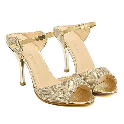 AmoonyFashion Womens Peep Toe High Heels Spikes Stilettos PU Solid Sandals with Slip Resistant Gold rDU296ele