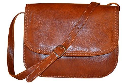 Italian Crossbody Cm 27 Shoulder X Handmade Brown Handbag 21 Bag Style Bag Classic Women's Genuine Leather 12 Saddle 5ww0Ba