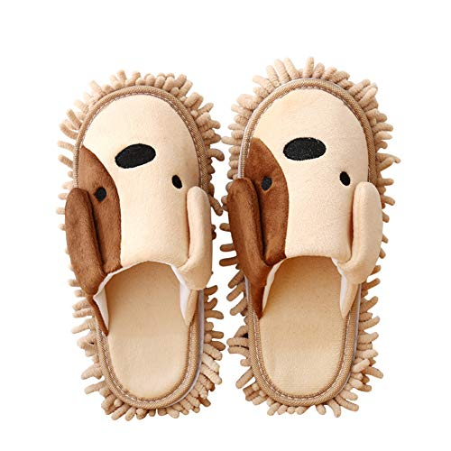 Frjjthchy Cartoon Dog Mop Slippers Microfiber Clean Dusting Slippers Detachable Mopping Shoes for Office Home Room