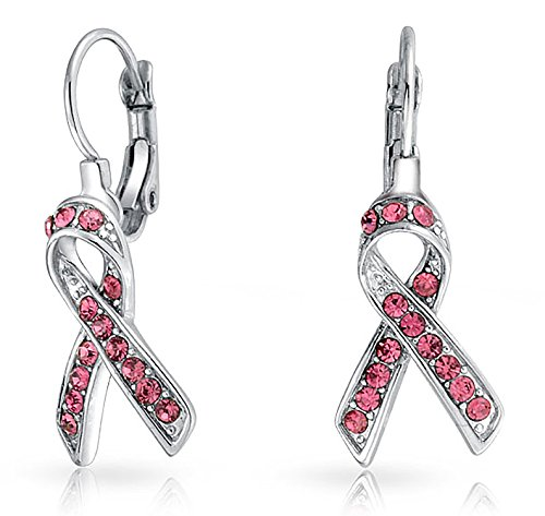 Crystal Pink Breast Cancer Awareness Support Ribbon Earrings For Women Leverback Silver Plated Alloy