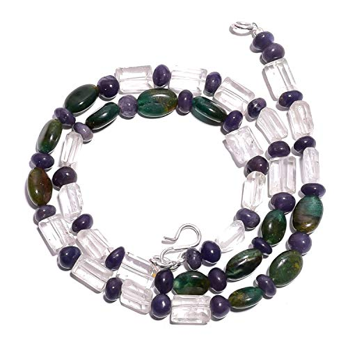 (kanta incorporation Natural Aventurine Iolite Crystal Gemstone Smooth Beads Necklace 17