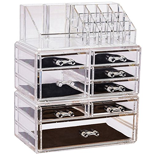 Sooyee 6 tier Acrylic 8 Drawers and 16 Grid Stackable Cosmetics Makeup Organizer and Jewelry Storage Case Display Set,3 Pieces Set Lipstick Holder Countertop,Clear (9.44x5.35x11.62 inch)