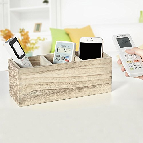 Wooden Remote Control Holder,Caddy,Organizer,Desktop Storage with 3 Compartments,Multiuse for Store TV Remotes,Game Console,Phones,Pens,Pencils,Office -