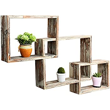 Popular Amazon.com: MyGift Country Rustic 3 Tier Floating Box Shelves  IH75