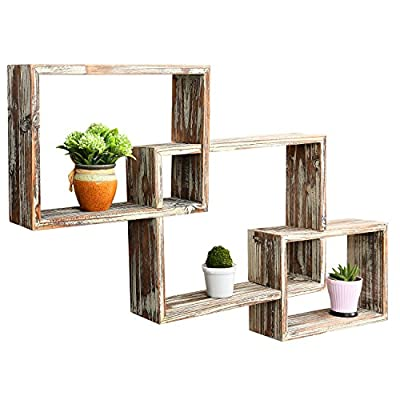 MyGift Country Rustic 3 Tier Floating Box Shelves, Decorative Wood Wall Mounted Display Shelf, Brown - A unique wall mounted wood shelf with a country rustic finish The geometric shelf design is composed of 3 overlying rectangular boxes Offers a total of 5 compartments for displaying your choice of decor in a stylish way - wall-shelves, living-room-furniture, living-room - 51ewkcKR8nL. SS400  -