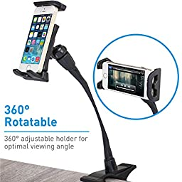 Macally Flexible and Adjustable Gooseneck Clip On Desk or Kitchen Table Holder Clamp Mount for iPad Air / Mini, Tablets, iPhone, Smartphones, & Nintendo Switch (ClipMount)