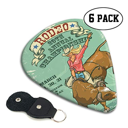 Guitar Picks 6 pcs,Rodeo Cowgirl On The Bull Annual Championship Vintage Poster Pattern Grunge Design