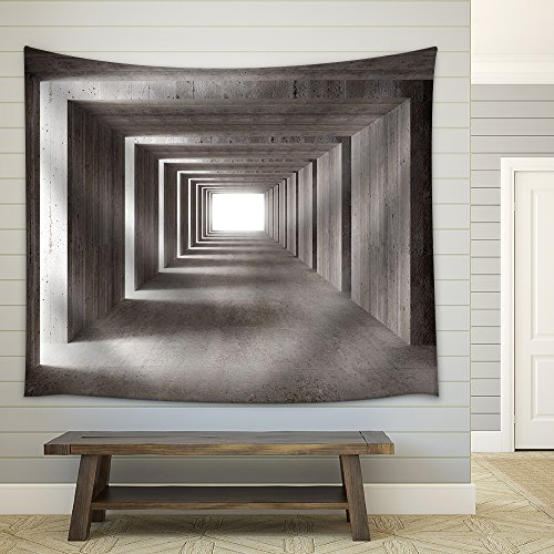 Fine Image 3D of Concrete Tunnel and Lateral Lights Abstract Background Fabric Wall