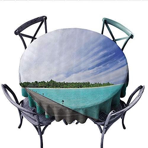 House Decor Collection Dinning Tabletop DecorView from a Deck at Tropical Island with Exotic Hawaii Sky Landscape Artprint Dust-Proof Round Tablecloth (Round, 50 Inch, Turquoise Brown Green)