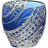 カガミクリスタル 懐石杯(魚子流し紋)(青) 80cc 江戸切子 T535-2044CCB