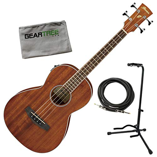 Ibanez PNB14E OPN Parlor Open Pore Natural Acoustic-Electric Bass w/Cable, Stan