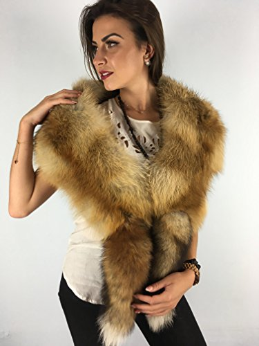 Red Fox Fur Shawl Boa 47' Saga Furs Stole Tails as Wristbands