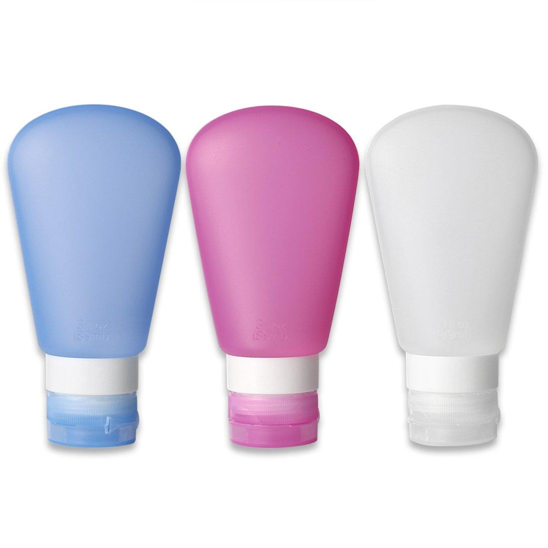Kitdine Portable Soft Silicone Travel Bottles Set (3 OZ, Pink + White + Blue)