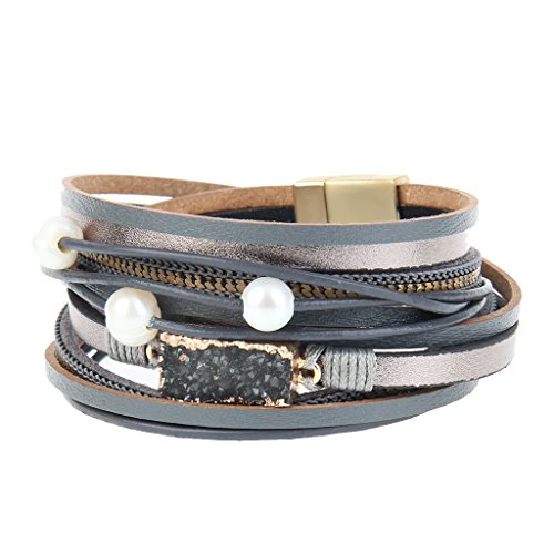 COOLLA Women Genuine Leather Vintage Volcanic Stone Wrap Bangle Bracelet Pearl Pendant Magnet Buckle (Grey) by COOLLA (Image #3)