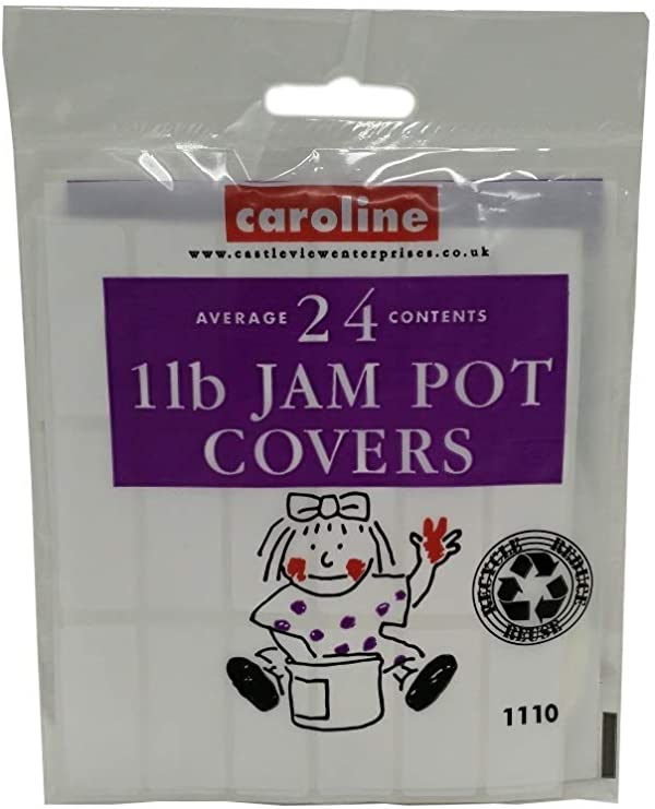 Clear Covers Labels /& Bands Caroline 1lb JAM POT COVERS 24 Pack inc Wax Disks