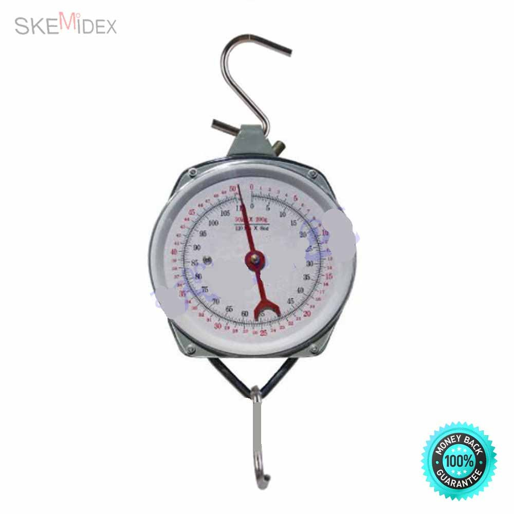 SKEMiDEX--- NEW 110LBS Hang Up Spring Scale Dial Weight Accurate Hanging Scale Produce Food Highly accurate and reliable. Steel construction. Scale weighs items up to 110 lbs.