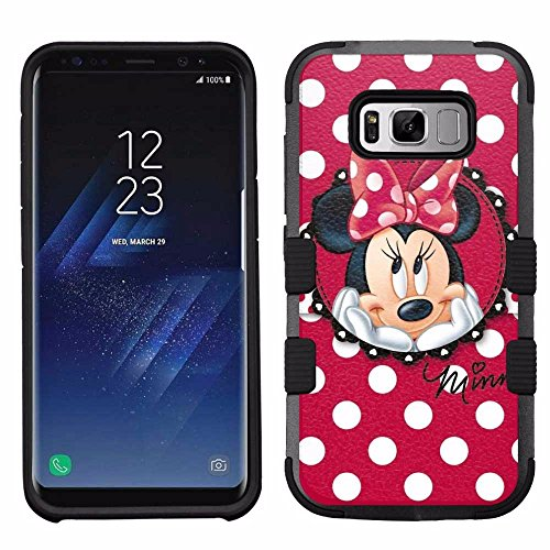 for Samsung Galaxy S8, Hard+Rubber Dual Layer Hybrid Heavy-Duty Rugged Armor Cover Case - Minnie Mouse #Red Polka Dots