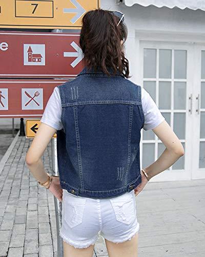 sans Veste Femme Denim Slim Courte Bleu en Fit Boutons Jean Manches Gilet 47q5wq