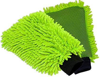 Lucfor 2 in 1 Microfaser Waschhandschuh Auto I vermeidet Kratzer I Lack schonend I Insekten & Dreck-Entferner auf der Rückseite I Leicht I Fester Halt an große und kleine Hände I 2 Stück