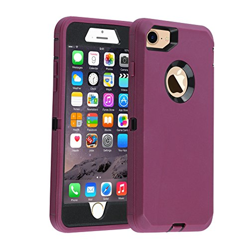 smartelf Case for iPhone 7/8 Heavy Duty With Built-in Screen Protector Shockproof Dust Drop Proof Protective Cover Hard Shell for Apple iPhone 7/8 4.7 inch-Purple/Black