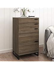 Uitla commode met 4 laden, nachtkastje, badkamerkast, opbergkast, kast in vintage-design voor slaapkamer, badkamer, kantoor, keuken
