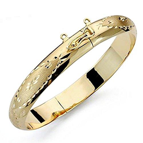 Bracelet 18k cerceau or 10mm bracelet. demi-rond sculpté [8379]