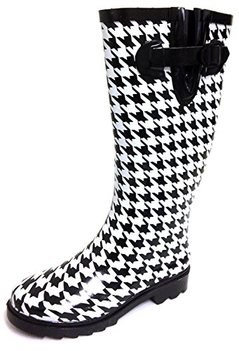 G4U Women's Rain Boots Multiple Styles Color Mid Calf Wellies Buckle Fashion Rubber Knee High Snow Shoes (7 B(M) US, Black Houndstooth)