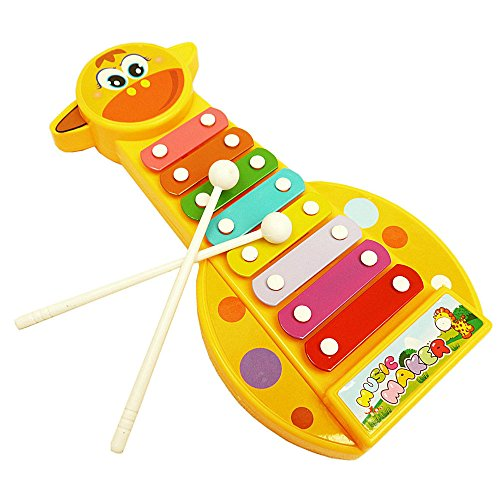 Ghazzi Kid Baby Musical Instrument 8-Note Xylophone Toy Developmental Intelligence Toy for Kids Puzzle Educational Learning Toy Growing Experiment Gift Toy Pretend Toy Toddlers Toy (Yellow)