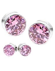 Multiple Sizes Huge Shape Brilliant Cut Pink Crystal Stainless Steel Screw Flesh Tunnels Ear Plugs