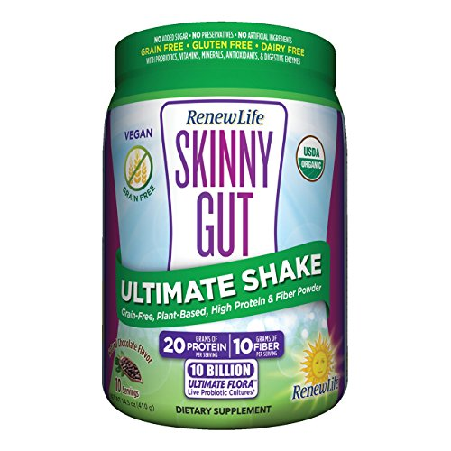 Renew Life Skinny Gut Adult Probiotic Shake - Ultimate Shake, Dietary Fiber Supplement - 10 Billion – Chocolate, 14.5 ounces ()