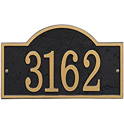 "Whitehall Personalized Cast Metal Address Plaque - Custom House Number Sign - Arched Rectangle (12"" x 7.25"") Black w/Gold Numbers"