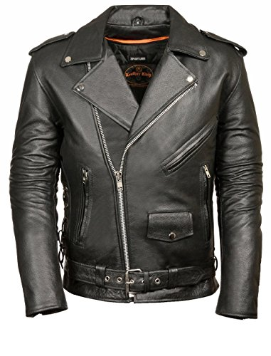 Mens Leather Side Lace Police Style Motorcycle Jacket, Black Size 3XL ()