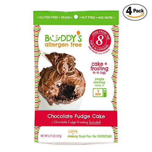 Buddy's Allergen Free: {CHOCOLATE FUDGE} Gluten Free Cakes - Frosting Included - Vegan Dessert - Nut Free Cakes - Top 8 Allergen Free Food - Nut Free Desserts - Mug Cakes - Gourmet Snack 4 PACK (16oz) (Best Chocolate Fudge Frosting)