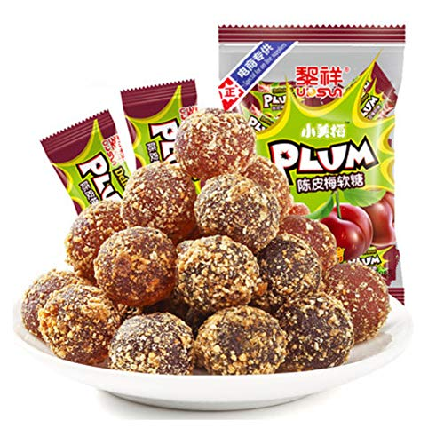 OUZ123 Chinese Jelly Drops Orange Peel and Plum Taste Dried Fruit Candy Chen Pi Mei Tang Guo 陈皮梅软糖 208g/7.33oz