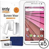 "Orzly® Screen Protectors for New 2015 Moto G (3rd Gen) - Multi-Pack of 5 Transparent Screen Protectors for MOTOROLA Moto-G 3rd Gen (New 5"" Screen Model from 2015)"