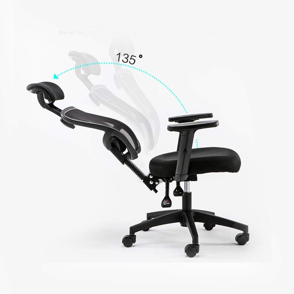 Silla ergonómica de oficina ajustable con soporte lumbar y ruedas de patines - Respaldo alto con malla transpirable - Amortiguador de asiento grueso - Reposacabezas y reposabrazos ajustables, altura d