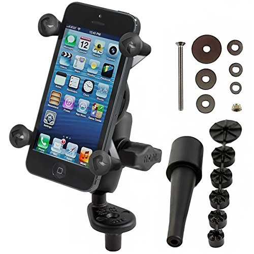 RAM MOUNTS (RAM-B-176-A-UN7 Fork Stem Mount with Short Double Socket Arm and Universal X-Grip Cell/Iphone (Ram Bike Mount)