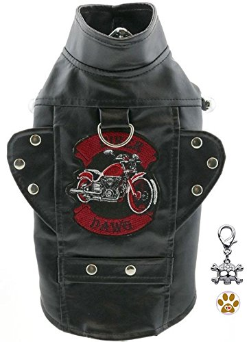 DOGGIE DESIGN Biker Dawg Motorcycle Harness Jacket with Skull Charm and Button Pin - Choice of Pink or Black - Dog Sizes XS Thru 3XL (3XL- Chest 31-35