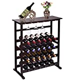 JAXPETY 24 Bottle Standing Wood Wine Rack | Holder | Storage | Display Shelf, with Glass Hanger, 31