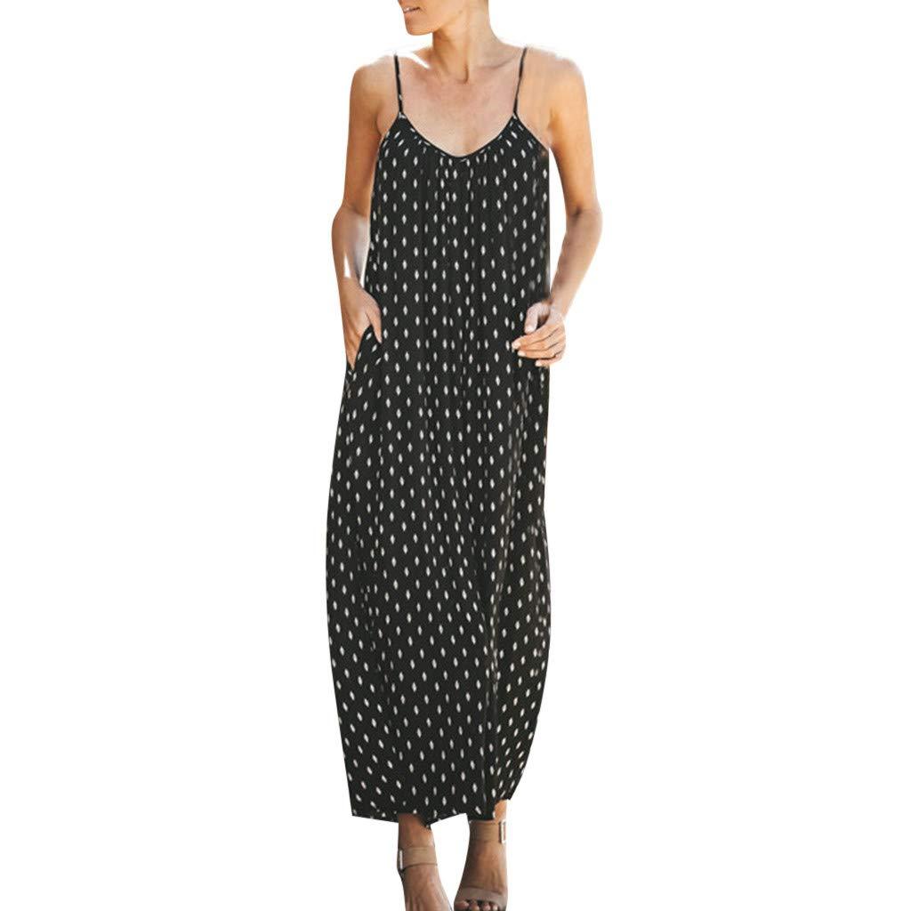 Alangbudu Women Sexy V Neck Sleeveless Spaghetti Strap Polka Dot Printed Harem Jumpsuit Rompers Dress with Pockets Black