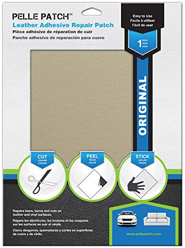 Pelle Patch - Leather & Vinyl Adhesive Repair Patch - 25 Colors Available - Original 8x11 - Cream