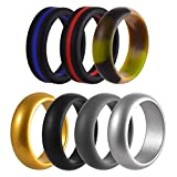 FCZDQ Silicone Wedding Ring for Men Boys Pro-Athletic Rubber Wedding Band Sets, Stackable Safe Comfortable, 7 Pack, 8.0MM Wide