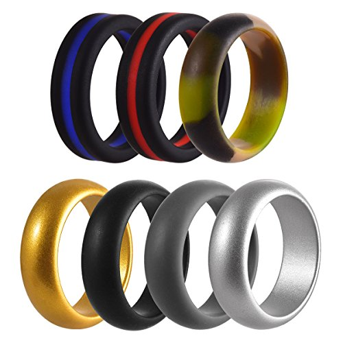 FCZDQ Silicone Wedding Rings for Men Boys Pro-Athletic Rubber Wedding Bands Sets, Stackable Safe Comfortable, 7 Pack, 8.0MM Wide, Size 10