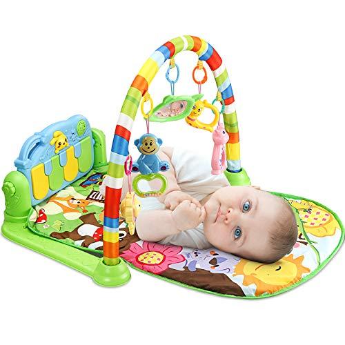 Luchild 3-in-1 Muzikale Activity baby speelkleed Baby Gym Speelmat Speelkleed Peuters Groen Baby Dierenvriendjes…