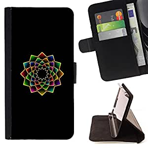 For Samsung Galaxy Note 4 IV Fractal Floral Art Minimalist Black Vibrant Style PU Leather Case Wallet Flip Stand Flap Closure Cover