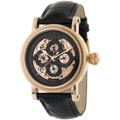 Stuhrling Original Men's 150A.334541 Symphony Maestro II Automatic Skeleton Date Rose Tone - Gents Complication Watch